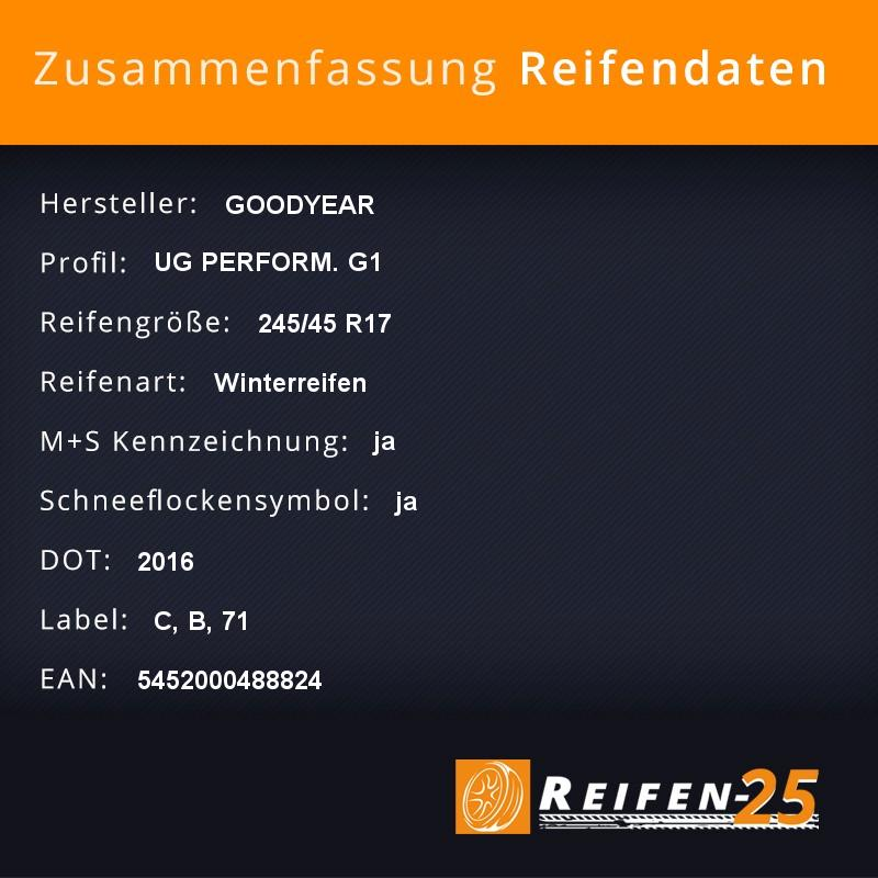 4x-Winterreifen-GOODYEAR-UG-PERFORM-G1-245-45-R17-99-V-DOT2016-C-B-71